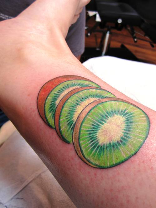 The kiwi tattoo I got from my man at Fortune Tattoo. His first tattoo in the new shop.