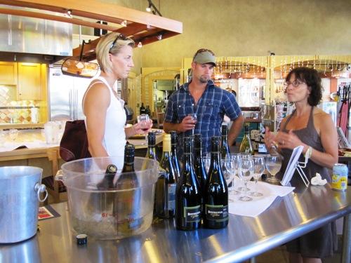 Athena Pappas of Boedecker Cellar sampling her delicious Stewart pinot noir and chardonnay.