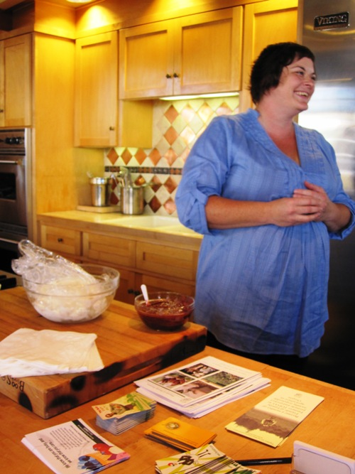 Michele Knaus of Friends of Family Farmers with her perfect for a hot summer day homemade ice milk with strawberry balsamic glaze.