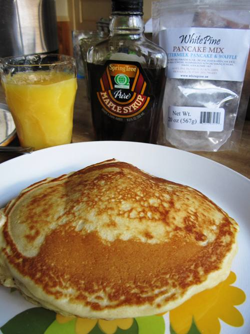 White Pine pancakes with maple syrup. Mmmm.