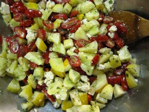Lemon cuke, grape tomato and French feta salad with oregano, mint and vinaigrette.