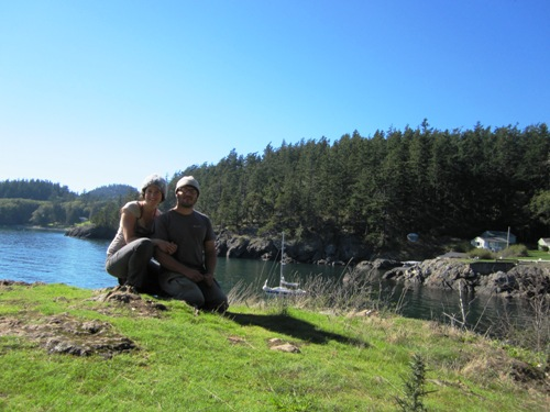 Tyler and me at Doe Bay on Orcas Island. Our boat is the one in the cove behind us.