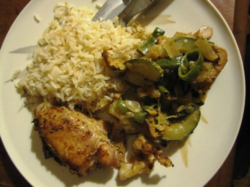 Roasted chicken with sauteed chanterelles, annaheims and zuke and rice.