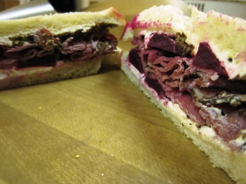 Pickled beet and pastrami sandwich with cream cheese and whole grain mustard on Marsee English muffin loaf.