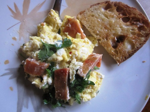 Newman's Fish smoked trout scramble with cream cheese and cilantro.