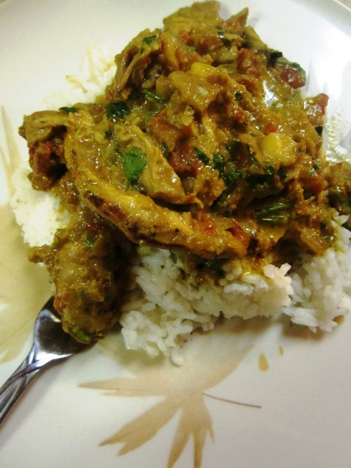 Vikram's mom's chicken curry recipe is delicious.