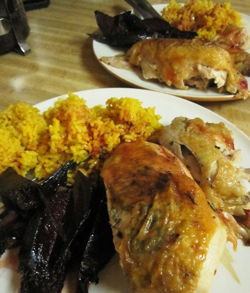 Roasted chicken with fresh herb butter under skin, roasted beets, turmeric rice and quick reduction with white wine.