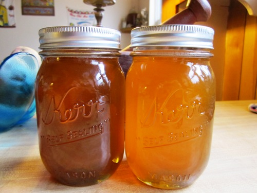Our friend Amanda Myers of Infinity Tattoo keeps bees and we got some of their spoils -- two jars of liquid gold honey.