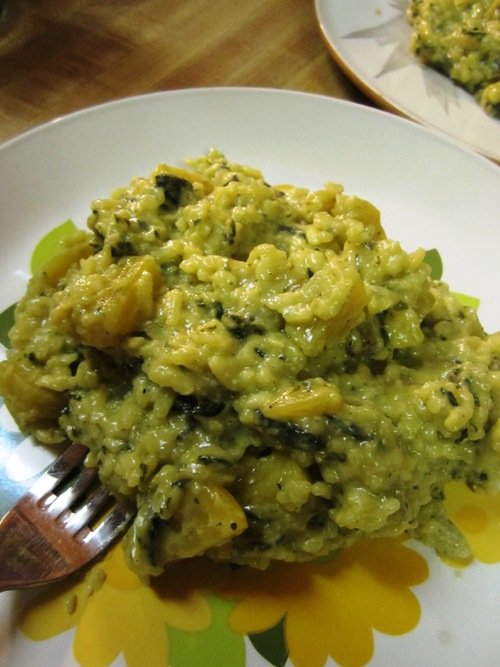 Golden beet and nettle risotto.