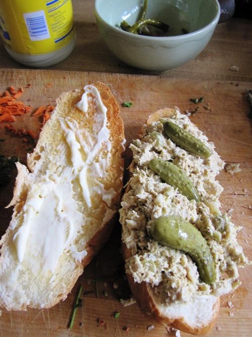 Mustardy tuna salad sandwich with homemade cornichons.