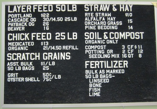All sorts of bulk feed, fertilizers and mulch to choose from at Urban Farm Store...