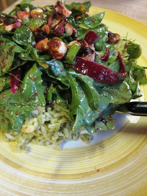Lots of arugula this spring and summer. Salad of it with miso lime dressing and pickled onions over tapenade rice.