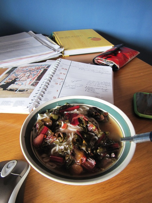 I eat a lot of ramen at my writing studio because only have a hotpot here. Added sauteed chard and onion to this one. So much better.