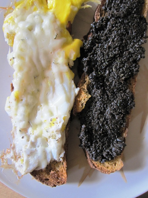 Egg sandwich with parm and tapenade with lots of herbs from the yard was delicious.