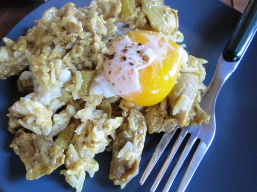 The chicken and the egg -- chicken curry and rice with egg. Sounds strange but it was really good.