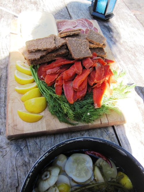 Homemade gravlax and pickles for our friends' campout wedding in Washington.