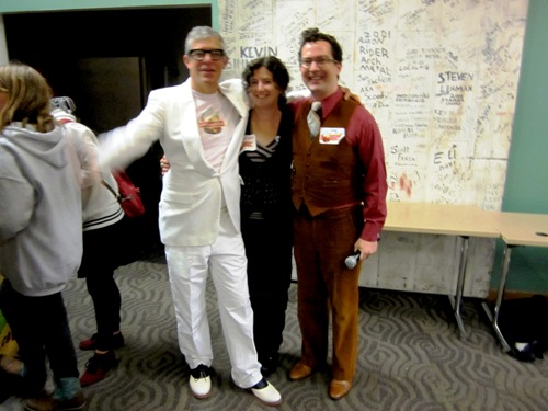 Festival organizers David Picklopolis Barber, me, and Mr. George dapper foodist Winborn right before the doors closed.