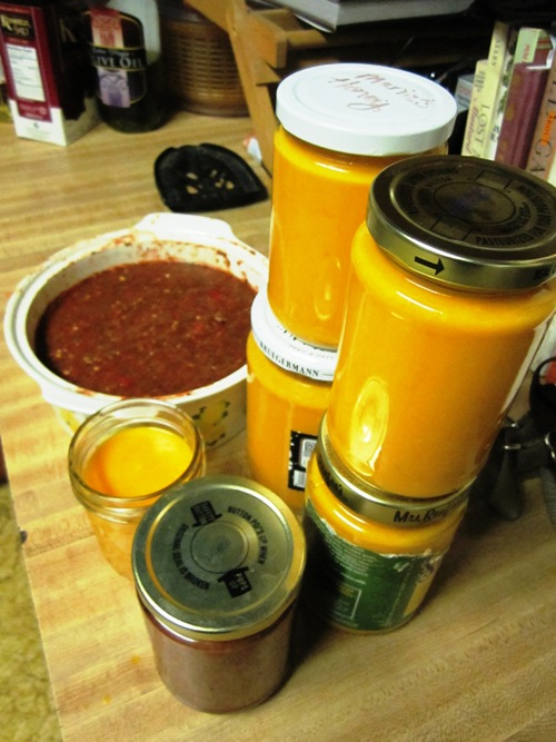 The last batches of hot sauce and salsa of the season. Long gone now. One of my favorite summer and early fall eats.