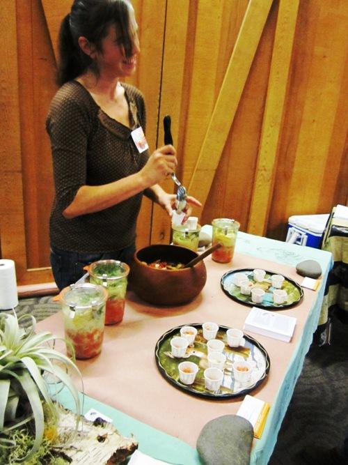The lovely Kate Patterson sampling her festival favorite-- fermented salmon. Mmmm.