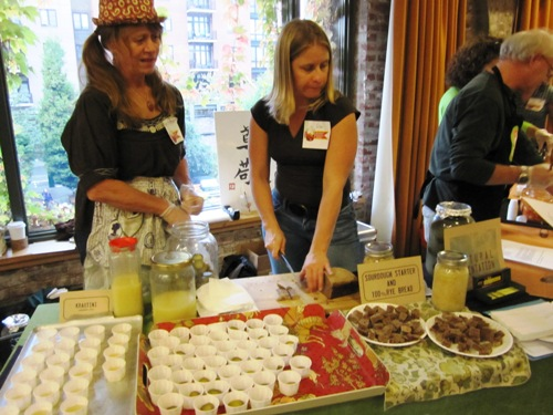 Peg Butler and posse serving up krautini (fermented cabbage tonic), fermented garlic, sour dills and sourdough rye. Yum!
