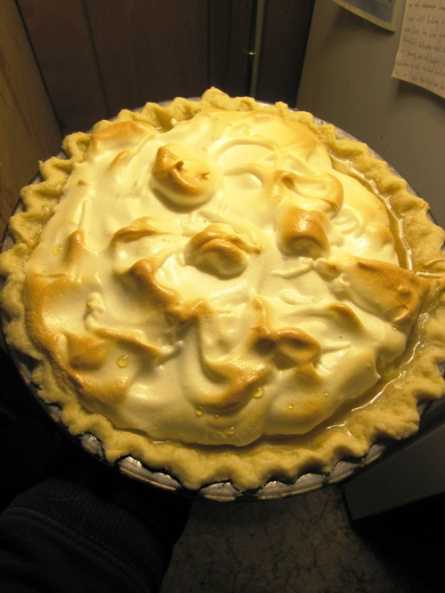 Our very good friend and neighbor Alison baked us this lovely lemon meringue pie for Thanksgiving this year. I really miss this pie. So good