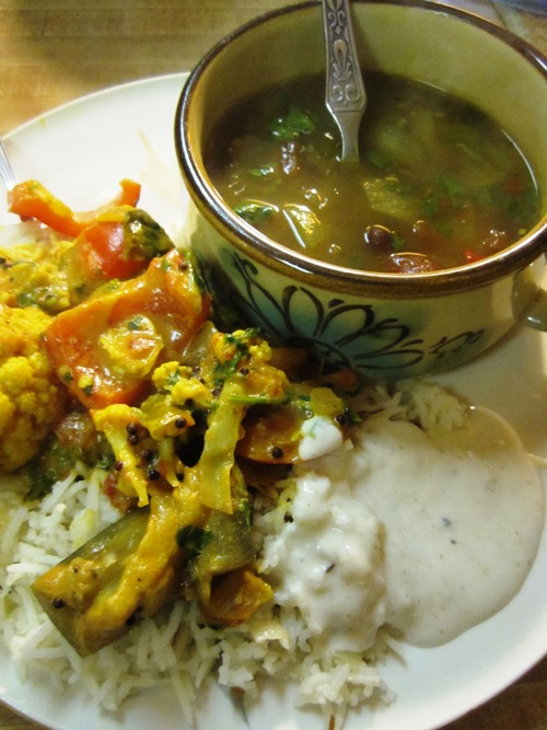 This simple vegetable curry was really tasty with raita and black chickpea curry.
