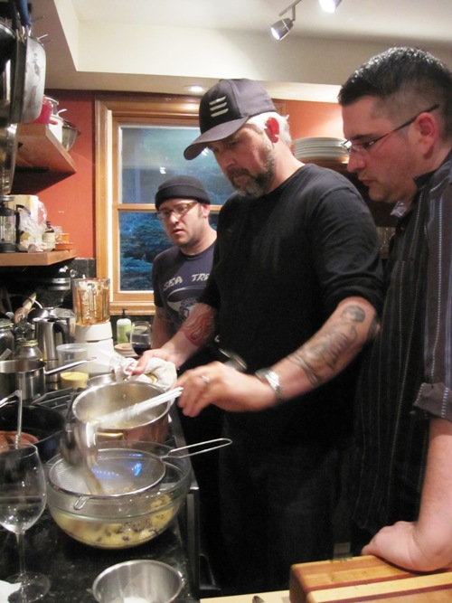 Left to right -- Tyler, John and Josh testing the couscous for the Moroccan tuna in the Toro Bravo Cookbook, due out fall 2013 from McSweeney's.