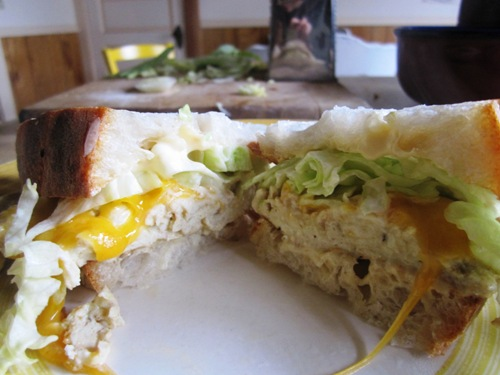 I made a custardy breakfast sandwich with the leftover blackening spices, miso mayo, iceberg and some cheddar on ciabatta.