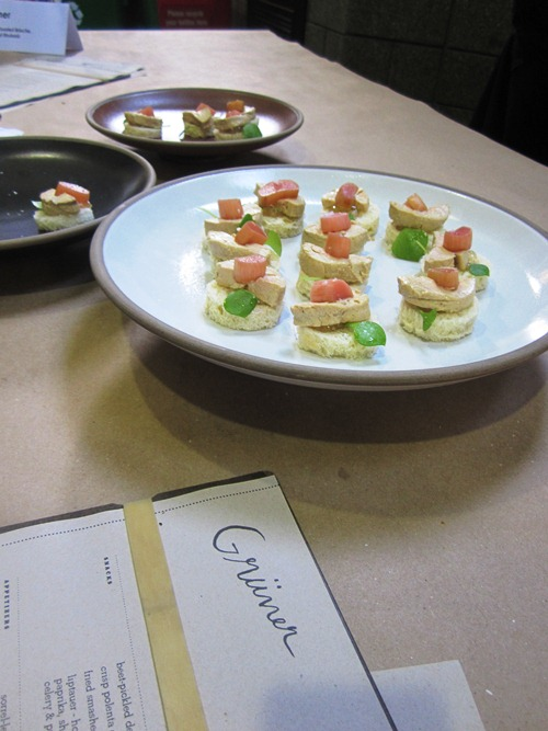 One of the most decadent treats of the night was Gruner's foie gras torchon on toasted brioche topped with riesling pickled rhubarb. One of my favorites of the night and they went fast.
