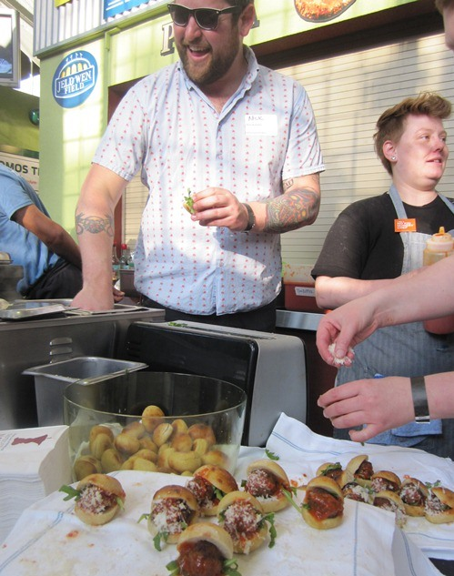 Oven & Shaker fixing up and serving tasty little meatball puccia at the 2012 Portland Taste of the Nation.