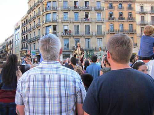 John and Josh checking out one of the many processions of the last day of the La Merce Festival -- Barcelona's largest annual street festival.