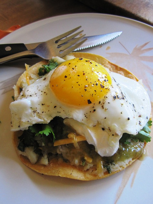 Potato tacos became potato tostadas for breakfast. One of my favorite breakfasts...
