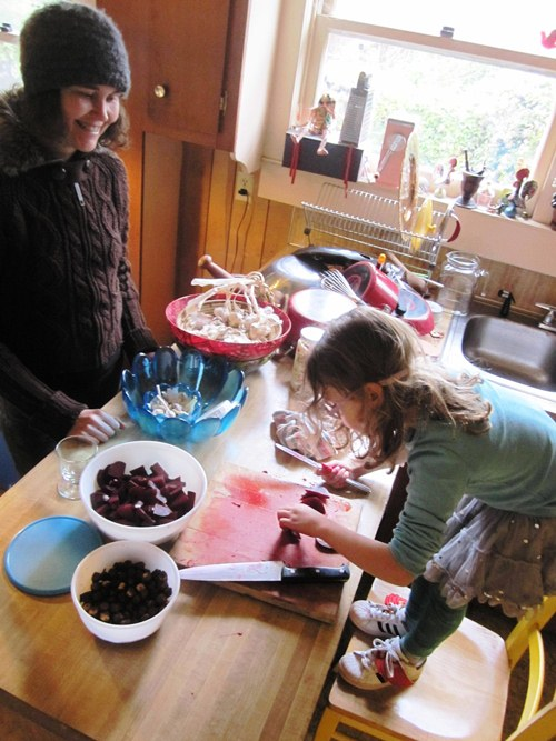 My friend Michelle and her daughter Kylie and I making beet salad.