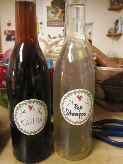 My friend Loly made peppermint schnapps and Kahlua for the holidays and I was lucky enough to get both!