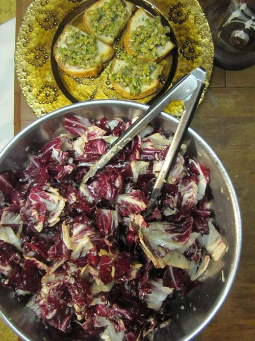 This is one of my favorite Toro Bravo dishes -- the radicchio salad with tapenade crostini. If I didn't write the cookbook I'd buy it just for these two recipes. Perfect.