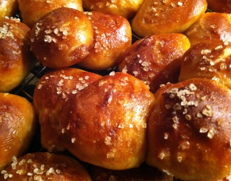 Went to my friend Chris and Karen's a couple weeks ago for a sauna and their friend Paul Yonchek (he photographed a couple of Caprial Pence's cookbooks) made these tasty pretzel breads with mustard for everyone. So good!