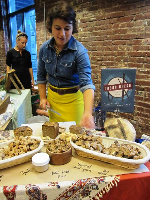 Annie Moss with all sorts of fermenty good Tabor Breads.