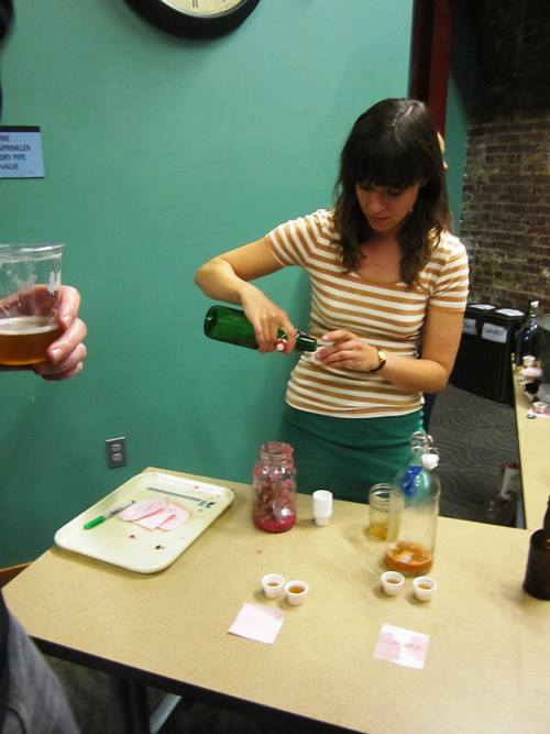 Megan Denton of Able Farms sampled her kraut and kombucha.