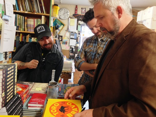 Signing books at Green Apple Books in San Francisco.