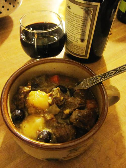 Jacques Pepin's delicious Provencal beef stew -- Beef Daube Arlesienne -- loaded with nicoise olives, capers and tomatoes.
