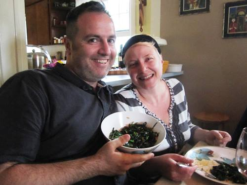 Dana and Oliver's Sauteed Spinach with Pine Nuts and Golden Raisins and mugolio that they bought at Pastaworks.