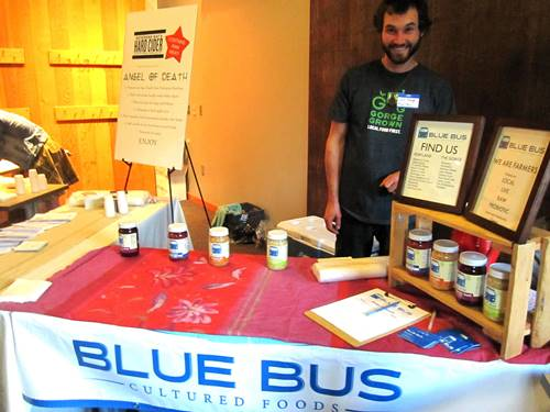 Cute Colin Franger of Blue Bus Cultured Foods before the flood of people.