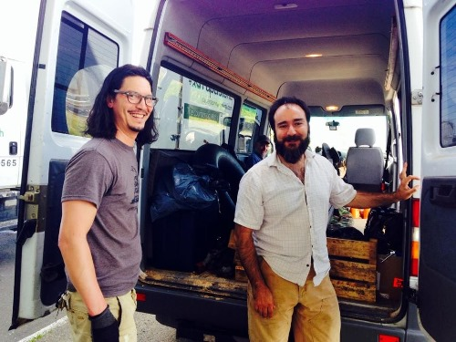 Paperstone pick-up in Hoquiam with these fine fellows -- John Wenderoth (left), Brian McVay and Rude Graves's tiny head in the back of the Sprinter.