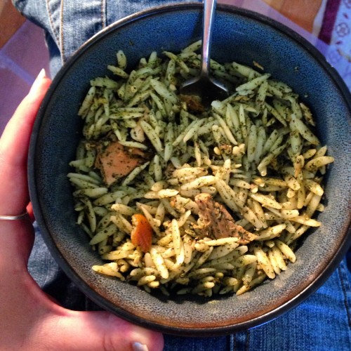 Nettle pesto orzo with home canned tuna and pickled peppers.