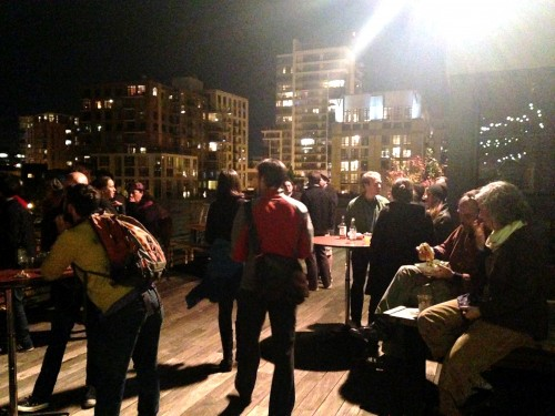 The rooftop in full swing with tunes by D.J. Jimbo, cider from Reverend Nat's Hard Cider and sandwiches from Bingo Sandwiches. Beautiful night. Beautiful city.