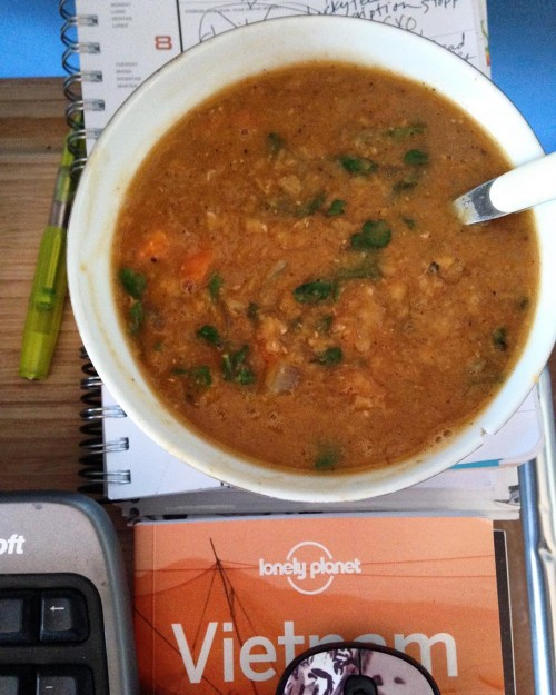 Another tasty soup that I took to my writing studio -- Melissa Clark's Red Lentil Soup with Lemon in the New York Times. I love red lentils -- so yummy, pretty and quick to cook.