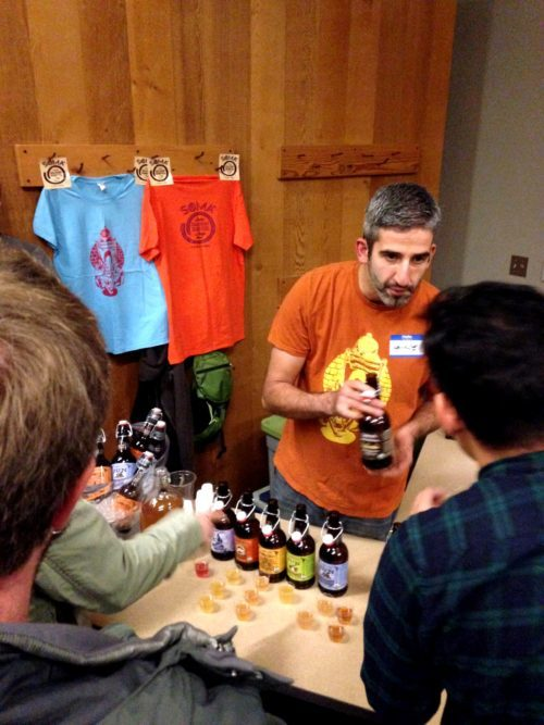 George Tsesoukas of Soma Kombucha (based in St. Johns) pouring up tart and tasty kombucha samples. So many different tasty flavors.
