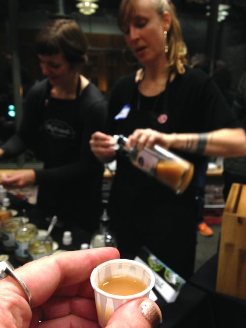 Owner Sash Sunday of Olympia's OlyKraut serving up all different kraut samples (also available in Portland markets) AND pouring shots of spicy spectacular pickle brine. YUM!! Next level ingredient for rad Bloody Marys.