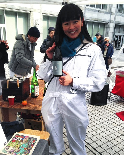 Did you know that Japan has a Miss Sake? They do! This is her — Mai Morita. She travels the world as an ambassador of Japanese sake. Love it. A lot of the organizers and VIP participants wore these white F3 lab suits. So stylish and fun.