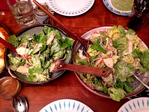 Loly and Faulkner's tasty Butter Lettuce Salad. Nice to have some fresh crisp greens in the middle of the feast.